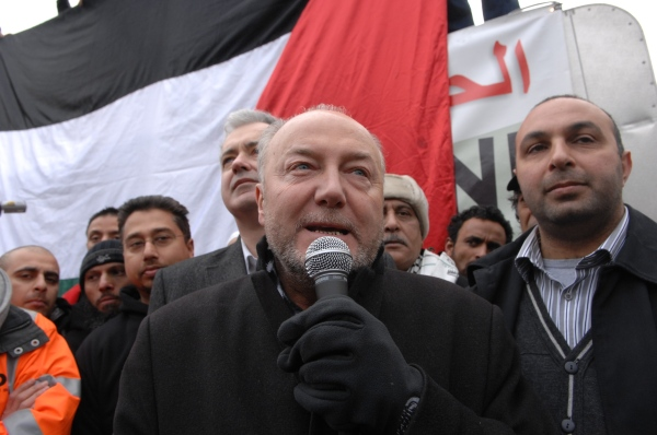 George Galloway leads the first Viva Palestina aid convoy from London to Gaza, 14 Feburary 2009