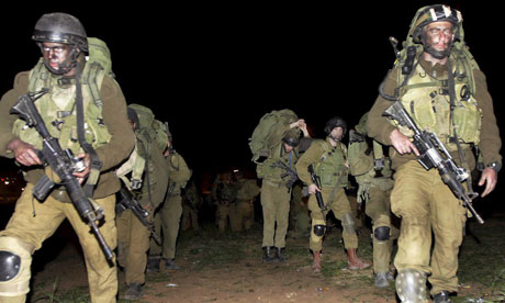 Israeli soldiers invading into Gaza in January 2009
