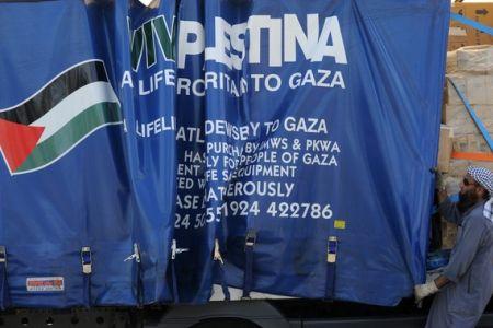Viva Palestina truck waits in Syria, October 2010