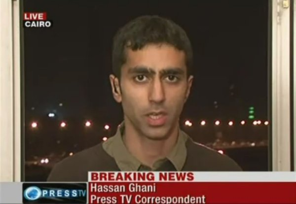 Hassan Ghani reporting for Press TV from Tahrir Square in Cairo, November 2011